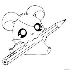 cute hamtaro with a pencil 4c2c coloring pages printable