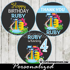 personalized cupcake toppers water park party cupcake toppers personalized favor tags d3