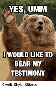 Hairless Bear Meme - yes umm i would like to bear my testimony credit skyler sitterud