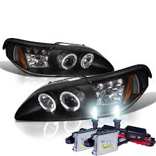 Black 98 Mustang 1994 1998 Ford Mustang Angel Eye Halo Projector Headlights