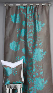Slate Gray Curtains Bold Curtains Vine Silk And Linen Embroidered Teal