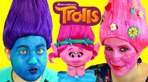 trolls movie makeup makeover u0026 costume dress up poppy u0026 boy troll