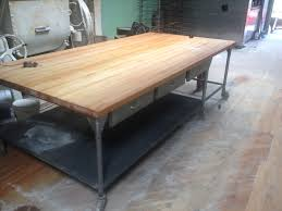 butcher block table on wheels bakery maple butcher block tables w shelves on wheels sold also