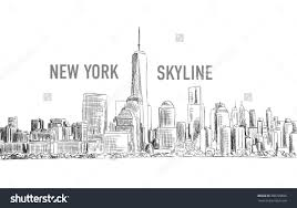 stock vector new york city vector drawing in sketch outline style