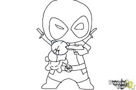 how to draw coloring pages how to draw chibi deadpool drawingnow