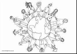 astounding children holding hands coloring page of the world with