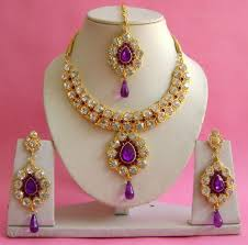 purple stone necklace set images Purple gold plated with zirconic stone studded necklace set jpg