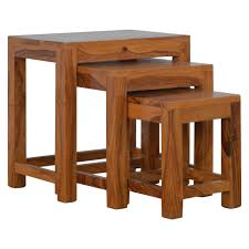 Handcrafted Wood Tables Solid Sheesham Wood Set Of 3 Cut Out Nesting Table Artisan