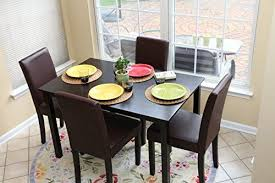 4 person table set 5 pc espresso leather brown 4 person table and chairs brown dining