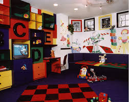 marvelous fun playroom ideas for kids with blue paint wall and