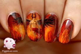 piggieluv hell god with a six pack nail art