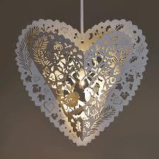 white christmas heart lanterns lasercut in sussex