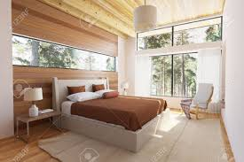 Schlafzimmer Holz Holz Schlafzimmer Interieur Mit Bett Holzstirnwände Und Große