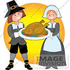 clip graphic of a generous pilgrim serving cooked