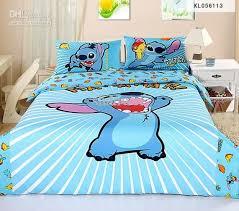bed sheet quality lovely cartoon blue stitch boys girls kids duvet cover sheet sets