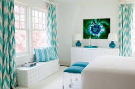 White And Teal Curtains Chevron Pattern Craze How To Pull It At Home