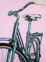 acrylic bicycle painting on stretched canvas with red and aqua