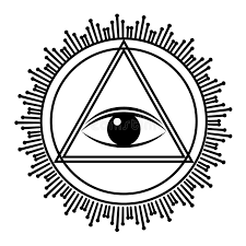eye of providence sign all seeing eye in triangle pyramid stock