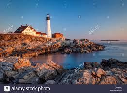 winters dawn at portland head lighthouse near portland maine usa