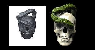 skull and snake 3d cad model library grabcad