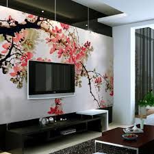 pink floral wallpaper ideas behind black hung screen tv in living chinese cherry blossom wall mural a beautiful and exquisite wall coverings from china