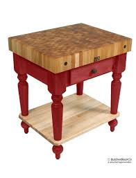 john boos cucina rustica butcher block table w shelf john boos maple rustica butcher block barn red base with solid maple shelf