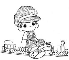precious moments christmas coloring pages train driver