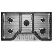 whirlpool 36 in gas cooktop in stainless steel with 5 burners