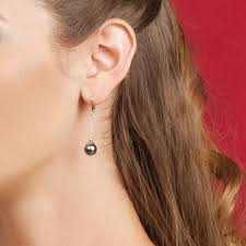 are leverback earrings for pierced ears 9mm cultured tahitian pearl and sterling silver dangle leverback