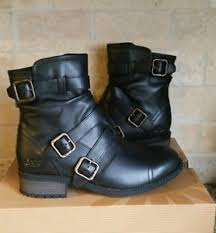 ugg womens motorcycle boots ugg womens finney black leather buckle moto boots shoes