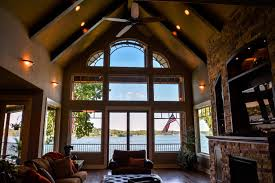 Decorating Rooms With Cathedral Ceilings 3 Story Lake Cabin With Great Room U0026 Cathedral Ceiling