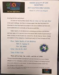 let your light shine vacation bible hqlm vision center pastor ronnie wiggins non profit organization