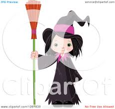 cute halloween clipart clipart of a cute halloween witch standing with a broom
