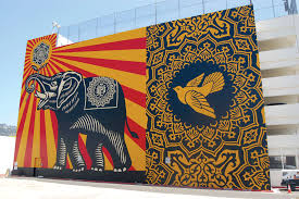 shepard fairey mural creates hope for bright future park labrea artist