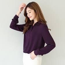 fashion 2017 women casual tops long sleeve chiffon shirt blouse