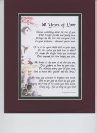50th wedding anniversary gift ideas for parents 50 years of touching 8x10 poem a gift for a 50th wedding