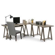 Distressed Office Desk Simpli Home Sawhorse L Shaped Home Office Desk In Distressed Gray