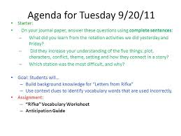 agenda for thursday 9 29 11 starter ppt download