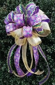 mardi gras bow three ribbon purple gold and green mardi gras large bow tri