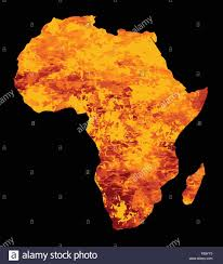 Map Pf Africa by Silhouette Map Of Africa With Fire And Flames Inset Stock Vector