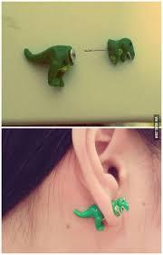 dinosaur earrings diseño clay and polymer clay