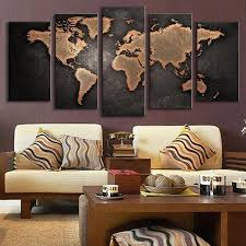 Livingroom World by 5 Pcs Set Modern Abstract Wall Art Painting World Map Canvas