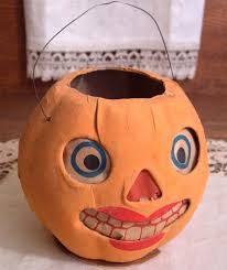 all original vintage halloween paper mache lady jack o lantern