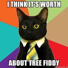 Tree Fiddy Meme - i think it s worth about tree fiddy business cat meme generator
