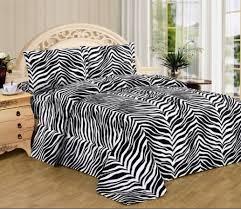 Cheetah Print Comforter Queen Amazon Com Black White Zebra Print Queen Size Sheet Set 4 Pc