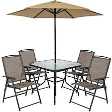 Patio Dining Set With Umbrella Best Choice Products 6pc Outdoor Folding Patio Dining