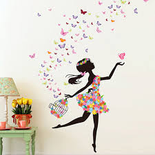 Wall Murals For Girls Bedroom Aliexpress Com Buy New Girls Room Wall Stickers Flowers Elf