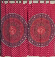 Orange Patterned Curtains Maroon And Orange Block Print Mandala Elephant Patterned Indian