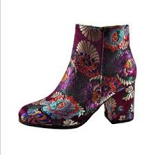 s qupid boots 20 qupid shoes qupid boho satin embroidered floral ankle