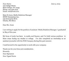 cover letter for recent college graduate sample cover letter